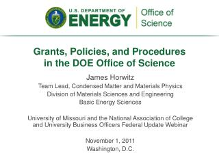 Grants, Policies, and Procedures  in the DOE Office of Science