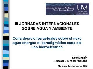 Liber MARTÍN  Profesor UMendoza / UNCuyo Mendoza, Septiembre de 2012