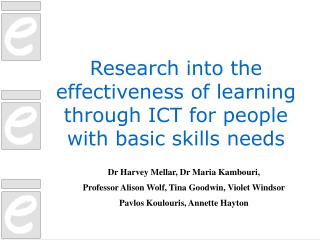 Research into the effectiveness of learning through ICT for people with basic skills needs