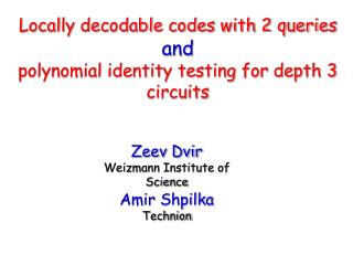 Locally decodable codes with 2 queries and polynomial identity testing for depth 3 circuits