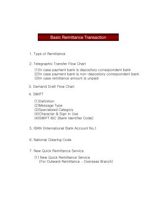 Basic Remittance Transaction