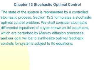 Chapter 13 Stochastic Optimal Control