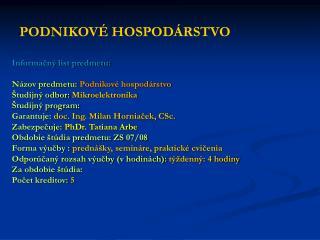 PODNIKOV� HOSPOD�RSTVO