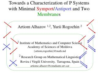 Towards  a Characterization of P Systems with Minimal  Symport / Antiport  and Two  Membrane s