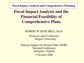 Fiscal Impact Analysis and the Financial Feasibility of Comprehensive Plans