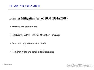 FEMA PROGRAMS II