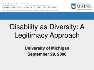 Disability as Diversity: A Legitimacy Approach