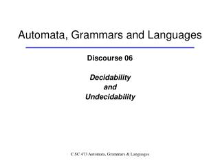 Automata, Grammars and Languages