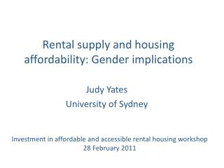 Rental supply and housing affordability: Gender implications