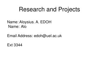 Research and Projects
