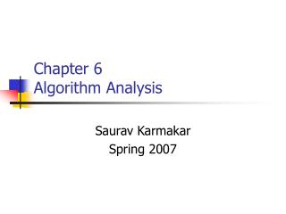 Chapter 6  Algorithm Analysis