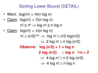 Sorting Lower Bound (DETAIL)