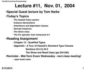 Lecture #11,  Nov. 01,  2004
