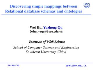 Discovering simple mappings between  Relational database schemas and ontologies