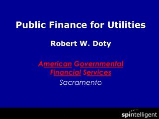 Public Finance for Utilities