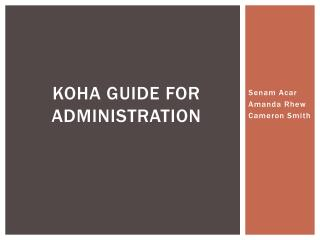 Koha Guide for administration