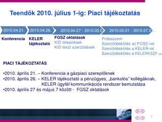 Teendők 2010. július 1-ig: Piaci tájékoztatás
