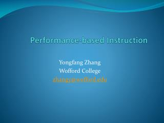 Performance-based Instruction