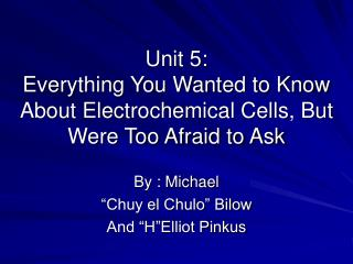 Unit 5: Everything You Wanted to Know About Electrochemical Cells, But Were Too Afraid to Ask