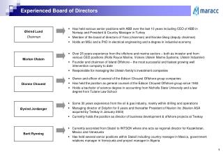 Experienced Board of Directors