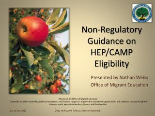 Non-Regulatory Guidance on HEP/CAMP Eligibility