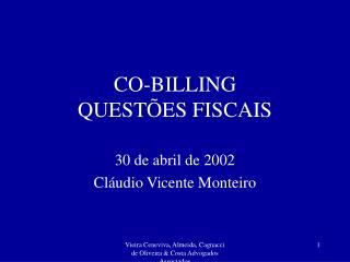 CO-BILLING  QUESTÕES FISCAIS