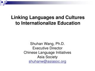 Linking Languages and Cultures to Internationalize Education