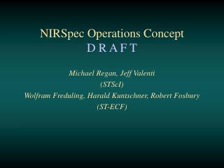 NIRSpec Operations Concept D R A F T