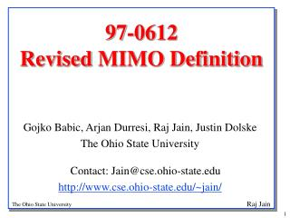97-0612 Revised MIMO Definition