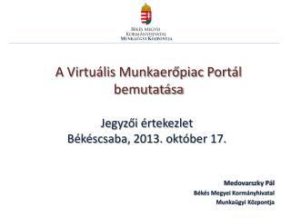 A Virtuális Munkaerőpiac Portál bemutatása