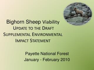 Bighorn Sheep  Viability  Update to the Draft Supplemental Environmental Impact Statement