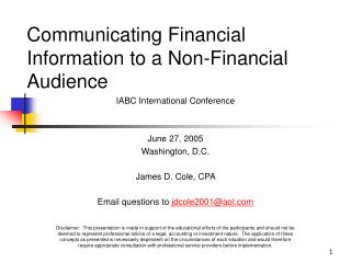 Communicating Financial Information to a Non-Financial Audience