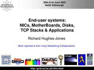 End-user systems: NICs, MotherBoards, Disks,  TCP Stacks & Applications