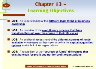 Chapter 13 –  Learning Objectives
