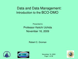 Data and Data Management: Introduction to the  BCO-DMO