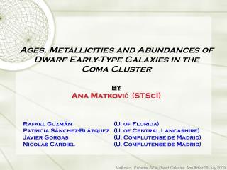 Dwarf Elliptical Galaxies