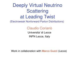 Deeply Virtual Neutrino Scattering  at Leading Twist