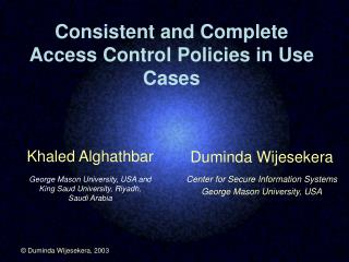 Consistent and Complete Access Control Policies in Use Cases