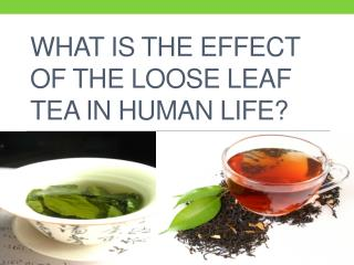 What is the effect of the loose leaf tea in human life?