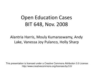 This presentation is licensed under a Creative Commons Attribution 3.0 License: