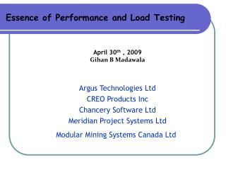 Essence of Performance and Load Testing