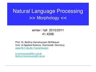 Natural Language Processing >>  Morphology  <<