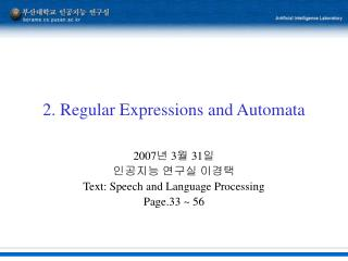2. Regular Expressions and Automata