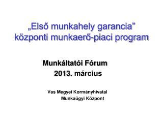 """""""Első munkahely garancia""""  központi munkaerő-piaci program"""