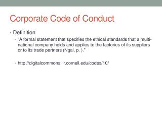 Corporate Code of Conduct