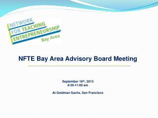 NFTE Bay Area Advisory Board Meeting