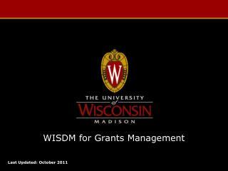 WISDM for Grants Management