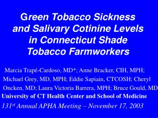 G reen Tobacco Sickness and Salivary Cotinine Levels in Connecticut Shade Tobacco Farmworkers