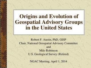 Origins and Evolution of Geospatial Advisory Groups in the United States