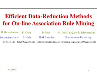 Efficient Data-Reduction Methods for On-line Association Rule Mining